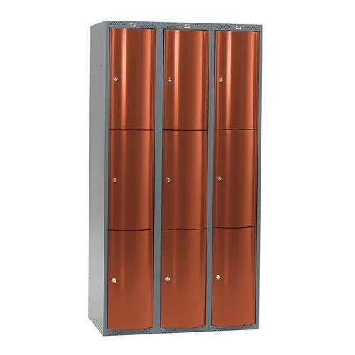 Aj produkty Metalowa szafa ubraniowa curve, 3x3 drzwi, 1740x900x550 mm, czerwony