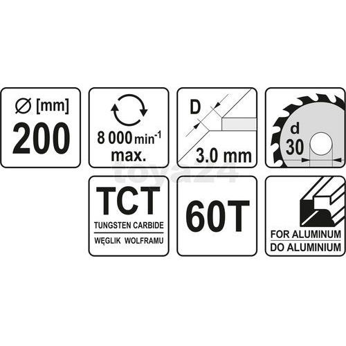 TARCZA WIDIOWA TARCZOWA DO ALUMINIUM 200X60TX30MM Yato YT-6091 - ZYSKAJ RABAT 30 ZŁ, YT-6091
