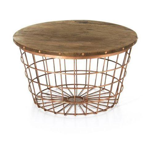 Dekoria  stolik copper basket 35cm, 60x60x35cm