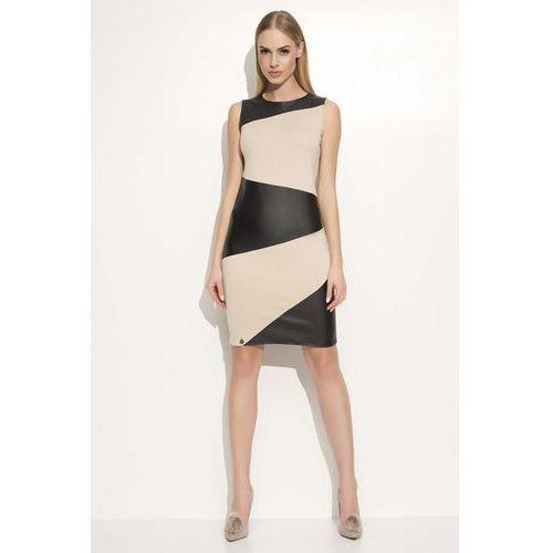 Beżowo czarna sukienka ołówkowa dwukolorowa bez rękawów, Makadamia, 36-42
