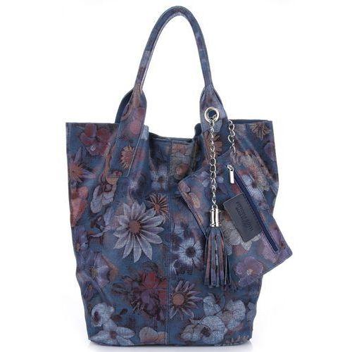 VITTORIA GOTTI Made in Italy Torebka Skórzana Shopper Bag Kwiaty Multikolor - Ciemno Niebieska (kolory), kolor niebieski