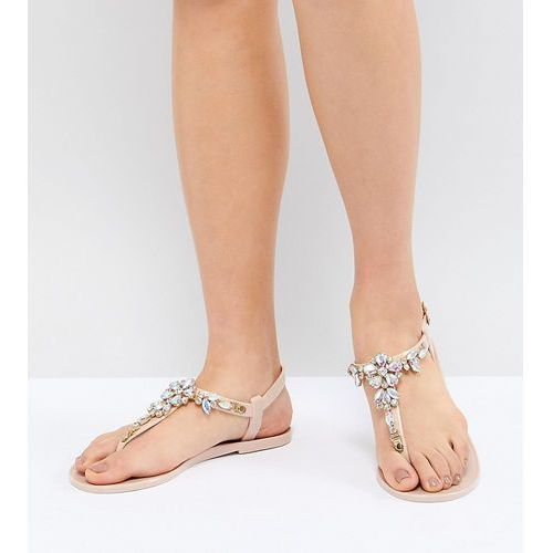 Park lane embellished jelly flat sandals - beige