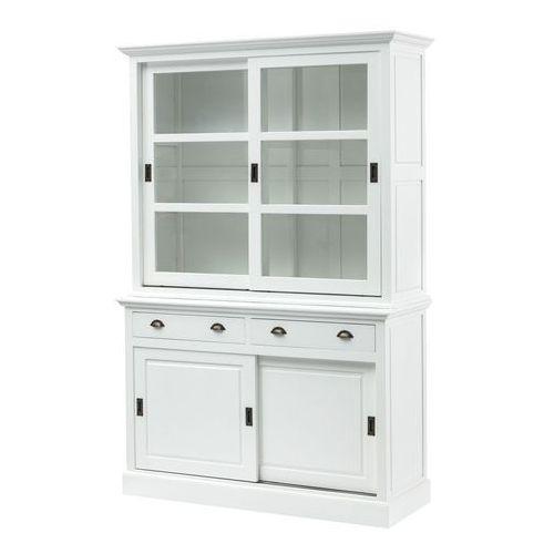 Dekoria Kredens New England white, 2 szuflady+ 2 drzwi przesuwne 143x52x215cm, 143x52x215cm