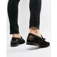 River Island suede loafer with dragon embroidery in black - Black