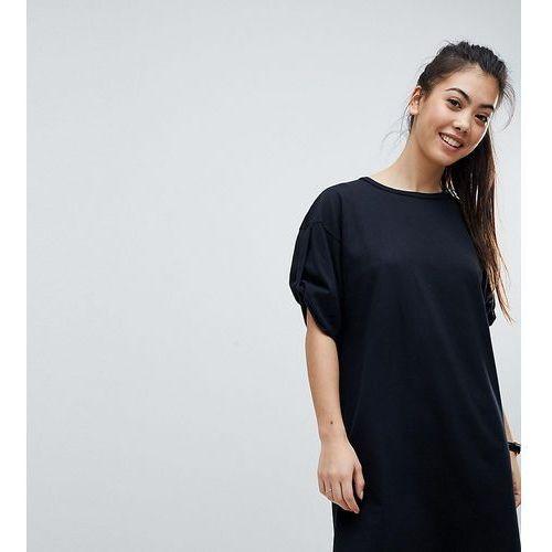 ASOS PETITE Ultimate Rolled Sleeve T-Shirt Dress With Tab - Black, kolor czarny