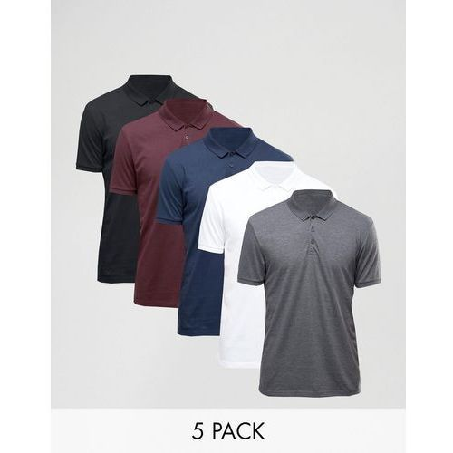 ASOS 5 Pack Polo Shirt In White/Black/Charcoal marl/Oxblood/Navy SAVE - Multi
