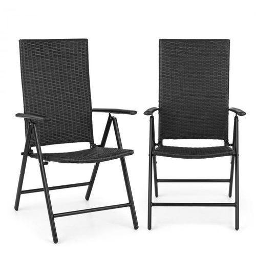 Blumfeldt estoril fotel, ogrodowy polirattan, aluminium, 7-stopniowa regulacja składany, czarny