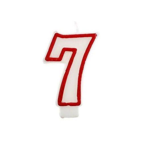 """Świeczka cyferka z czerwoną obwódką siódemka - """"7"""""""