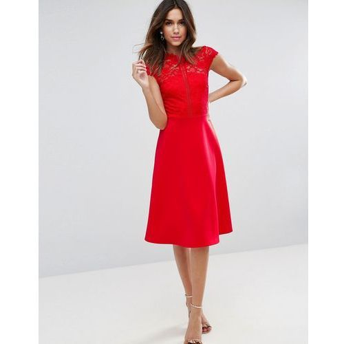 ASOS High Neck Midi Skater Dress With Lace Top - Red