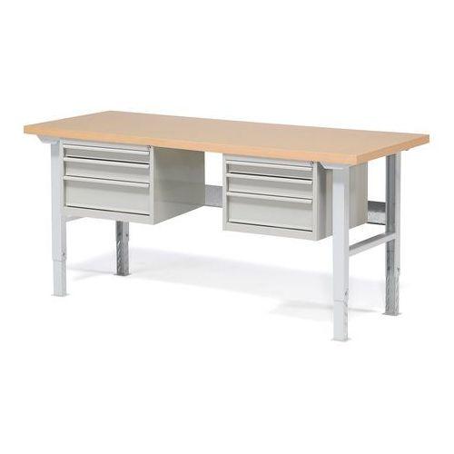 Stół warsztatowy ROBUST, z regulacją wysokości, 6 szuflad, 800x2000 mm