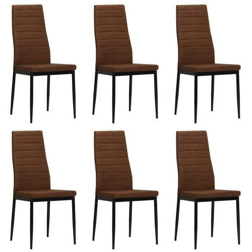 Vidaxl Krzesła jadalniane obite tkaniną, 6 szt., brązowe