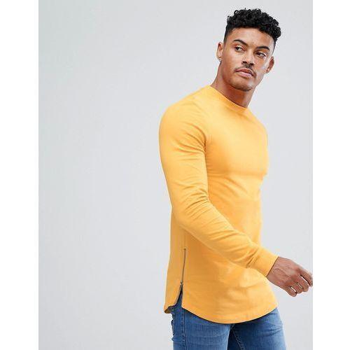 muscle longline sweatshirt with side zips & curved hem in yellow - yellow marki Asos