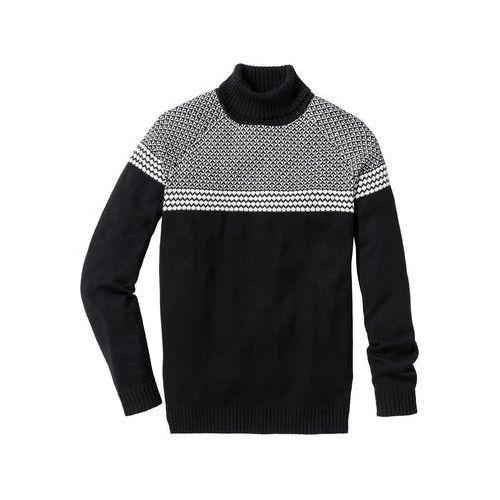 Sweter z golfem Regular Fit bonprix czarny, kolor czarny