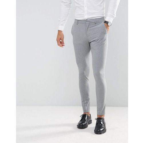 Selected homme super skinny wedding suit trousers with stretch - grey
