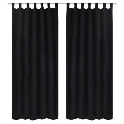 vidaXL Czarne atłasowe zasłony z pętelkami 2 szt. 140 x 245 cm