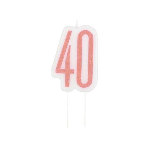 Brokatowa różowo-złota świeczka na 40-tke - 1 szt. marki Unique