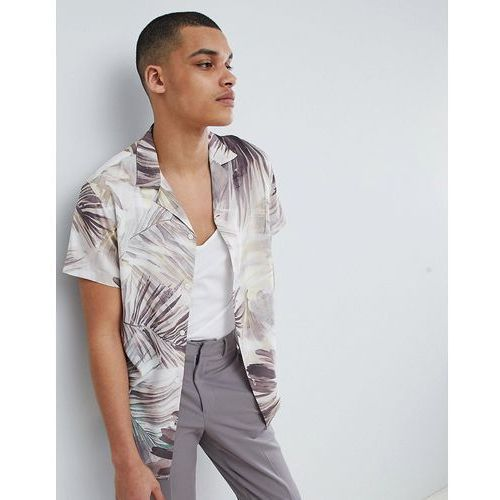 Selected Homme+ Shirt With All Over Print And Revere Collar - White, w 3 rozmiarach