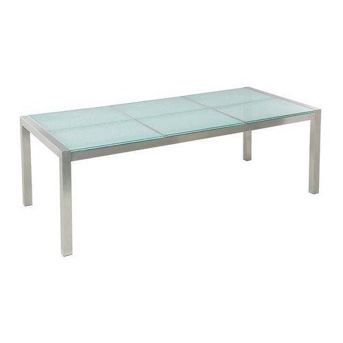 Beliani Stół ogrodowy stal nierdzewna/szkło hartowane 220 x 100 cm grosseto