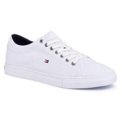 Tommy hilfiger Tenisówki - seasonal textile sneaker fm0fm02687 white ybs