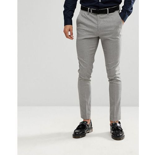 skinny fit suit trousers in grey houndstooth - black marki New look