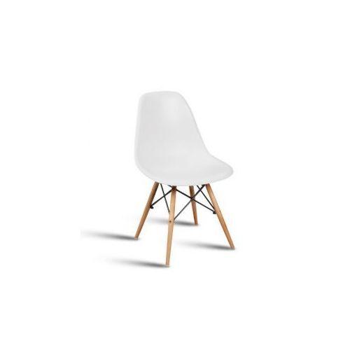 """Krzesło """"Monza""""- białe z bukowymi nogami"""