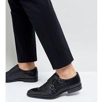 wide fit smart monk shoes in black - black marki Silver street