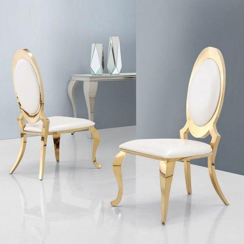 Bellacasa Krzesło glamour victoria gold white eco - krzesło tapicerowane ekoskóra (5908273394886)