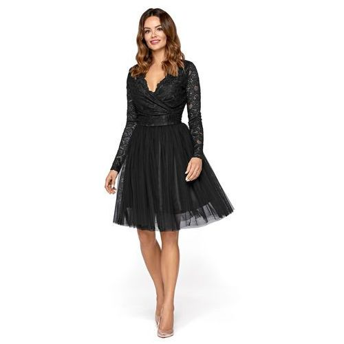 Czarna wieczorowa sukienka z tiulu i koronki, Kartes moda, 36-44