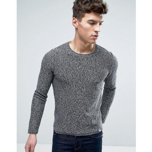 Jack & jones  originals 100% cotton crew neck knitted jumper in mixed yarn - grey