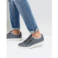faux croc trainers with zips in grey - grey, River island