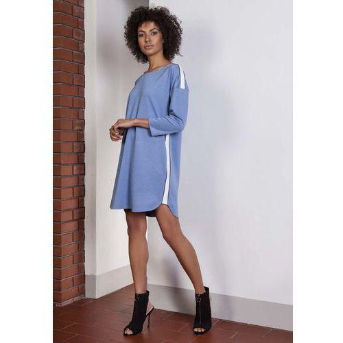 Niebieska Luźna Sportowa Mini Sukienka z Lampasami