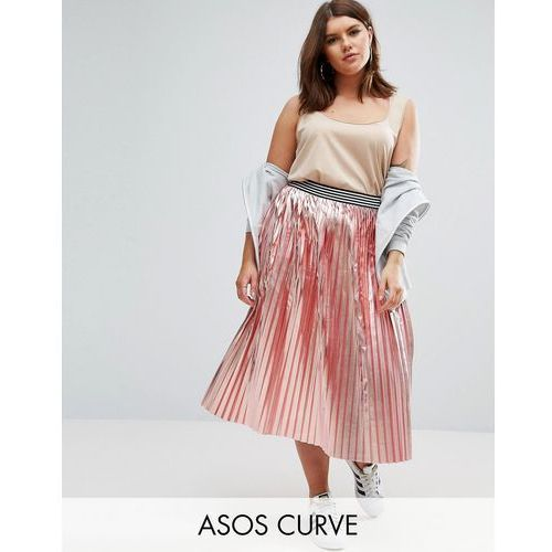 ASOS CURVE Pleated Skirt in Metallic with Sports Waistband - Pink