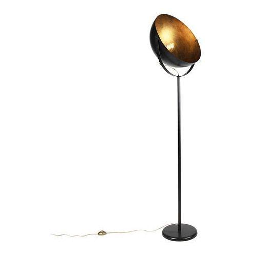 Qazqa Industrialna lampa podłogowa czarna ze złotym wnętrzem 50cm - magna