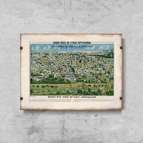 Vintageposteria.pl Plakaty w stylu retro plakaty w stylu retro stara mapa jerozolimy ziemi świętej