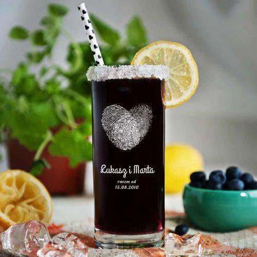 Fingerprints - grawerowana szklanka do drinków - szklanka marki Mygiftdna