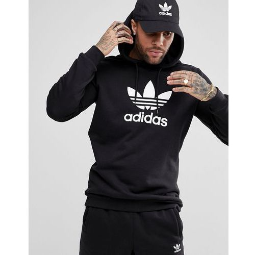 Adidas originals adicolor pullover hoodie with trefoil logo in black cw1240 - black