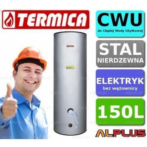 Termica Bojler elektryczny nierdzewny 150l pionowy stojący, 3kw (1 grzałka 3kw lub inne do wyboru), 150 litrów, 148,5cm x 54cm, klasa energetyczna c, wysyłka gratis