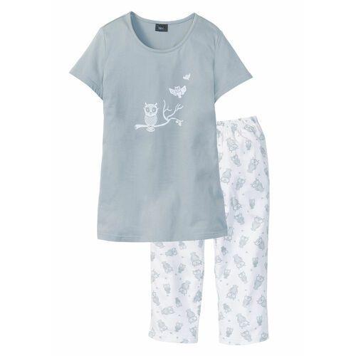 Piżama z krótkim rękawem i spodniami 3/4 srebrnoszaro-biały, Bonprix, S-XXXXL