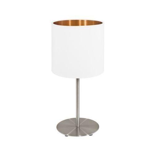 Eglo Lampa stołowa pasteri 95048 z abażurem 1x60w e27 biały/miedź