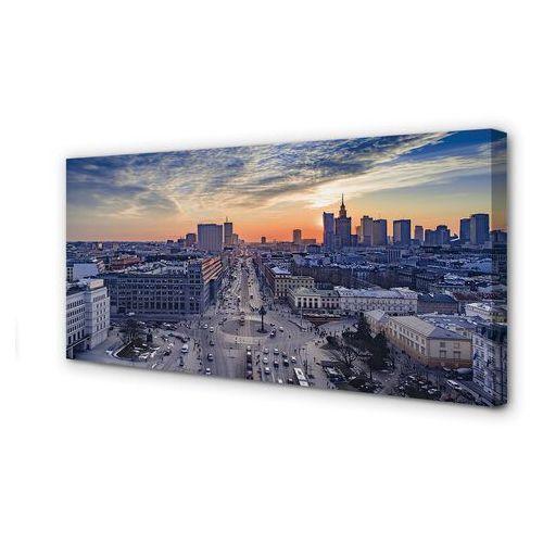 Tulup.pl Obrazy na płótnie warszawa zachód słońca wieżowce