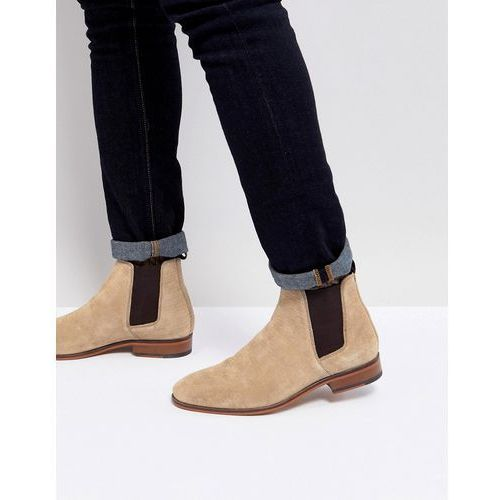 ASOS Chelsea Boots In Stone Suede With Emboss And Natural Sole - Stone