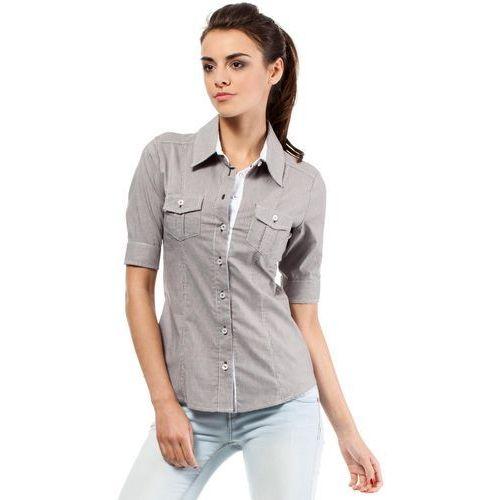 Klasyczna Koszula z Krótkim Rękawem - Brązowy, E027br