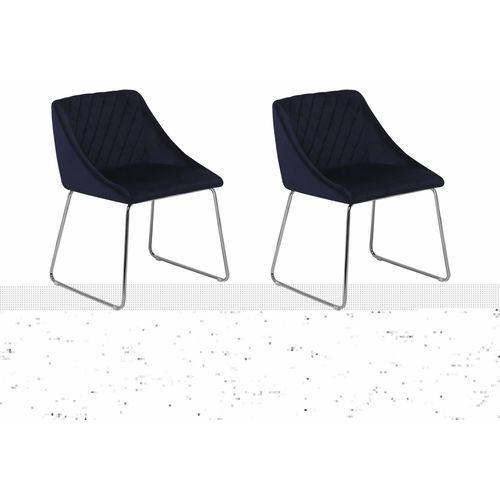 Zestaw do jadalni 2 krzesła welwet ciemnoniebieskie ARCATA, kolor niebieski