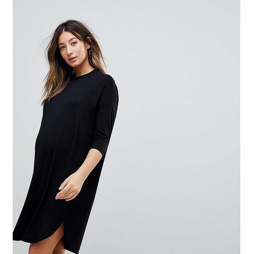 ASOS DESIGN Maternity oversize t-shirt dress with seam detail - Black, kolor czarny