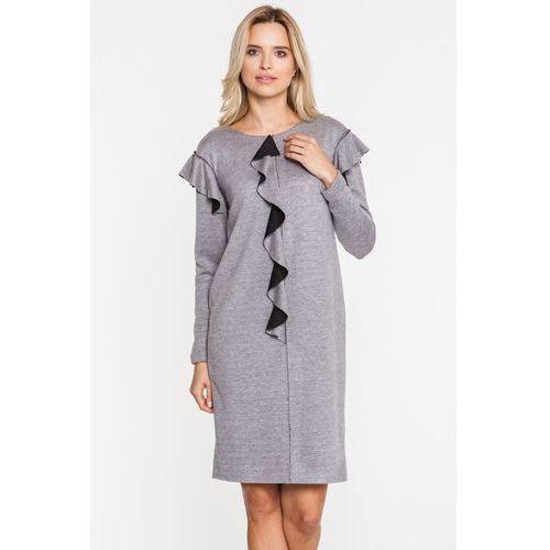 Szara sukienka z falbanką - SU, 1 rozmiar