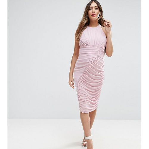 mesh ruched curved seam detail dress - purple, Asos maternity