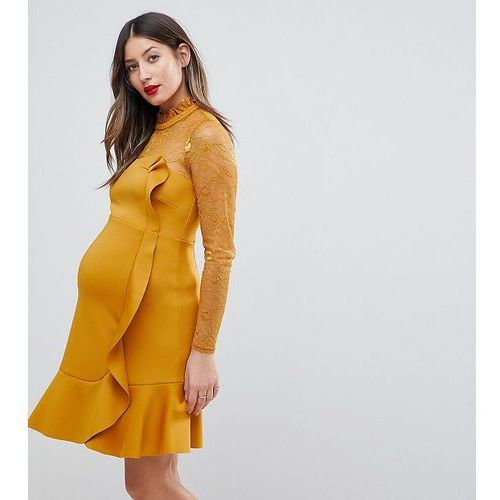 delicate lace & scuba ruffle shift mini dress - yellow, Asos maternity