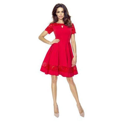Czerwona sukienka elegancka rozkloszowana z koronką marki Bergamo