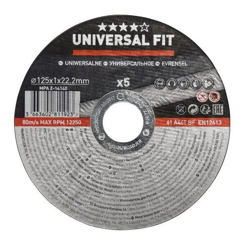 Universal fit Zestaw tarcz do cięcia metalu 125 x 1 mm 5 szt. (3663602811923)