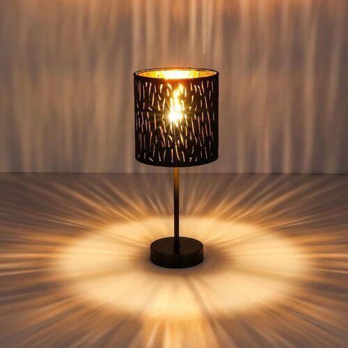 Lampa stołowa Tuxon z czarno-złotym kloszem
